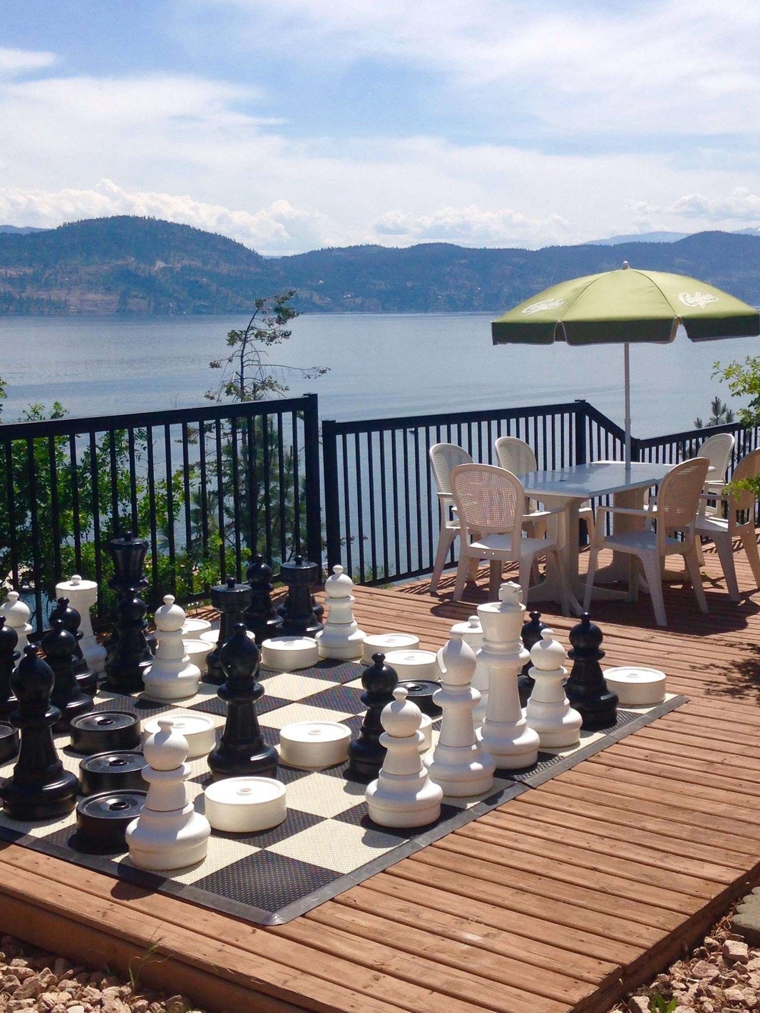 Large Chess Game On The OBC Patio With A View Of Lake Okanagan