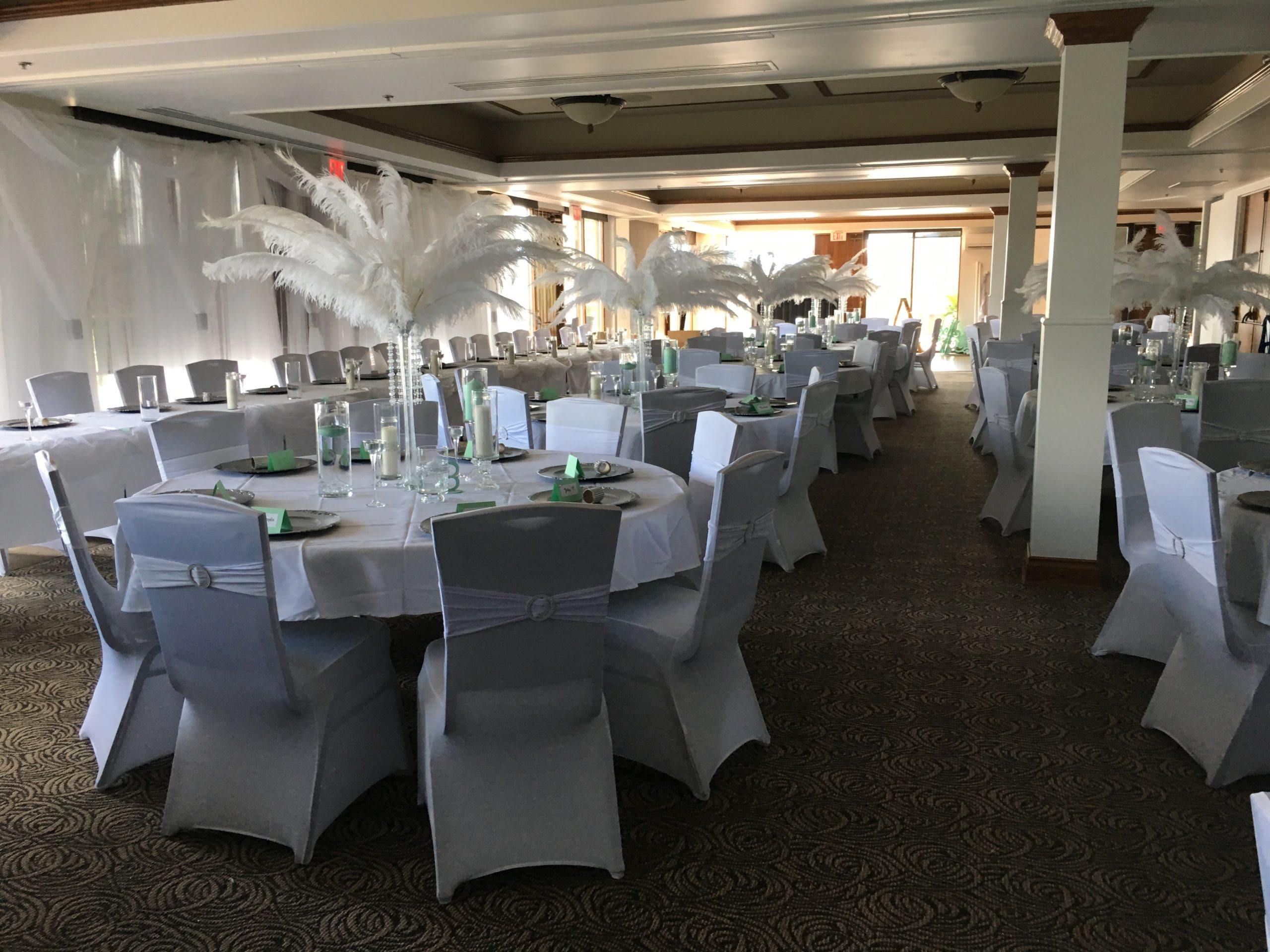 Wedding Reception With A White And Green Theme